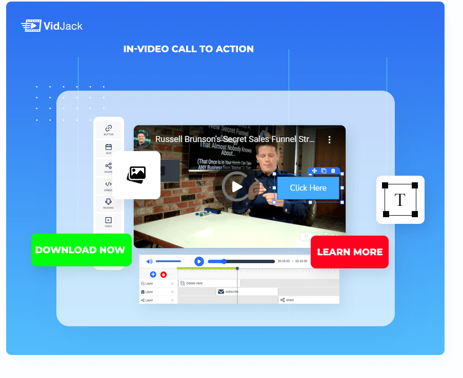 Call to action button right inside video
