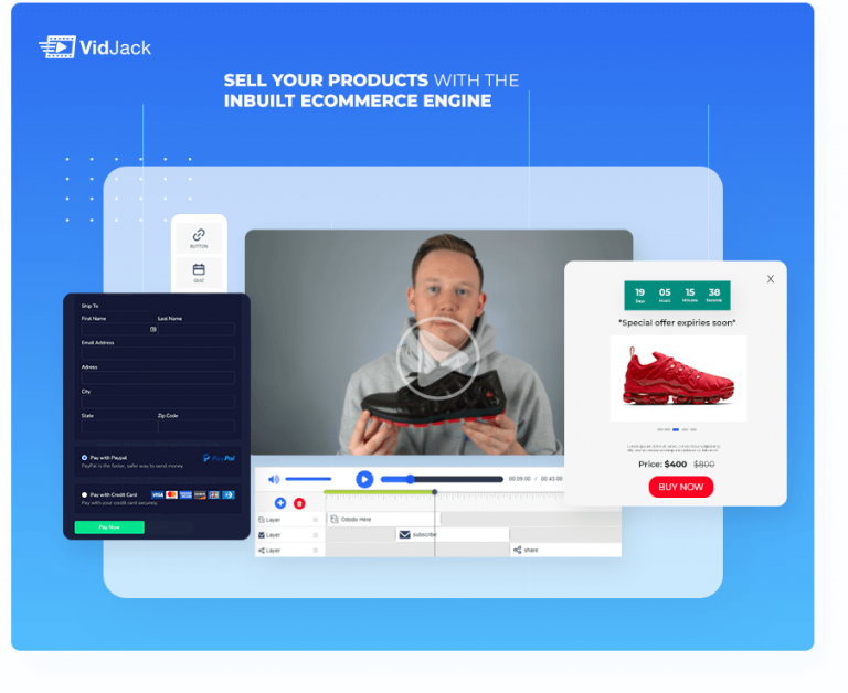 Sell products in video with Vidjack