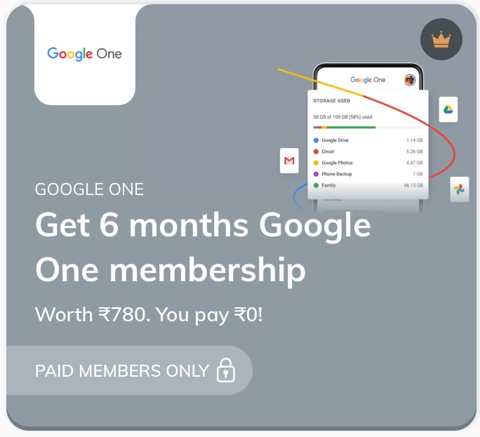 Google One Membership free with times prime