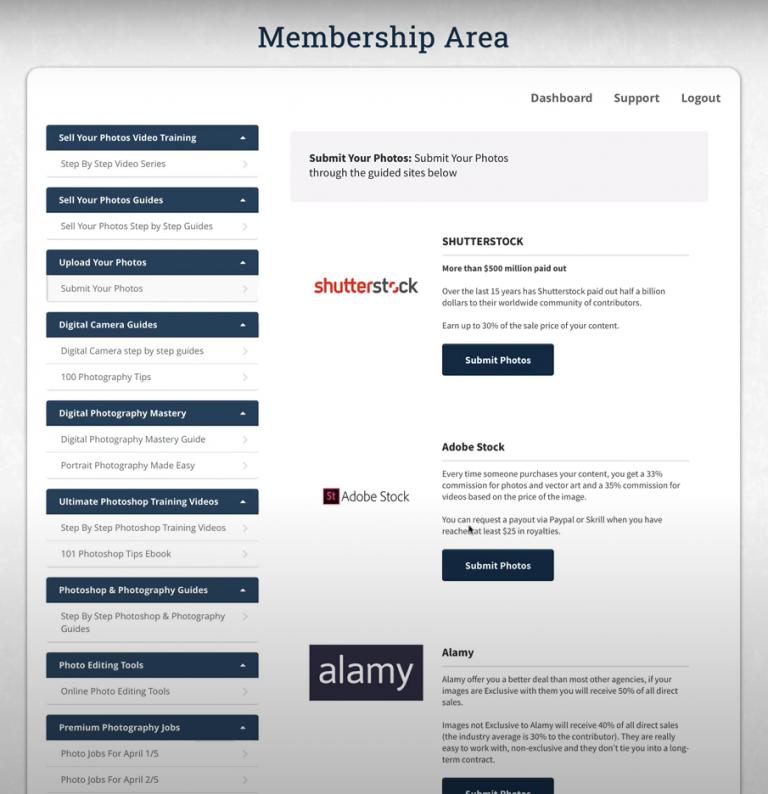 Photojobz Membership area: Upload your photos