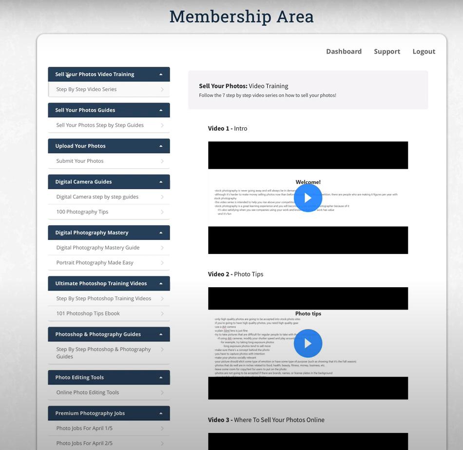 Photojobz Membership Area: Sell your photos video training